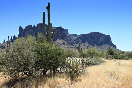 Superstition Mountains from parking lot